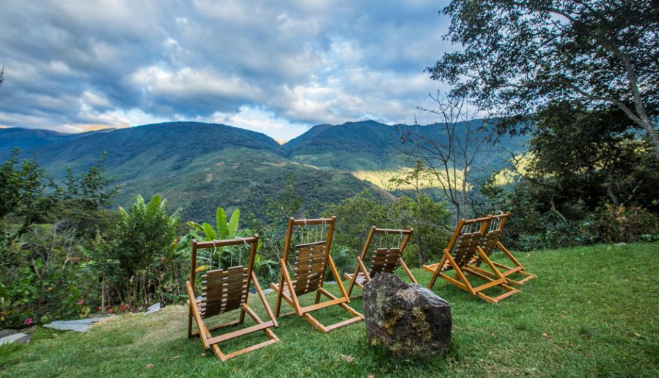 Relaxing overlook from Lucma Lodge to the lush river valley below