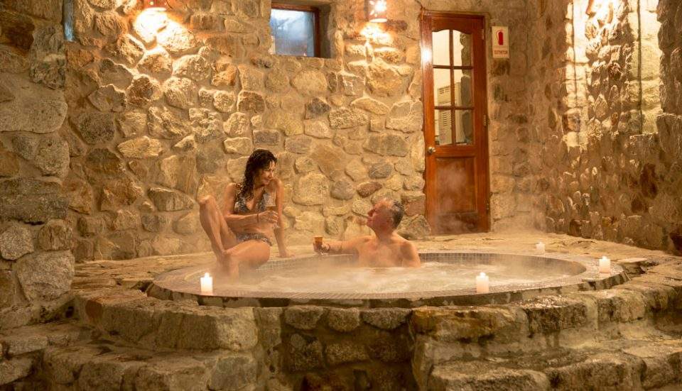 After conquering the Salkantay Pass--a relaxing evening soak in the interior courtyard at Wayra Lodge