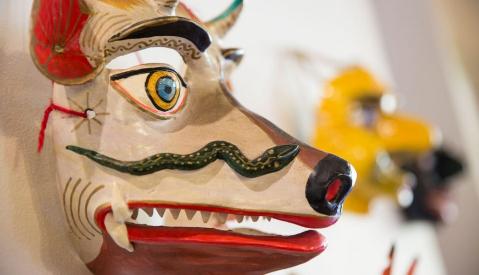 Colorful Papier mache ? Ceramic? Andean masks adorn the hallways of Colpa Lodge