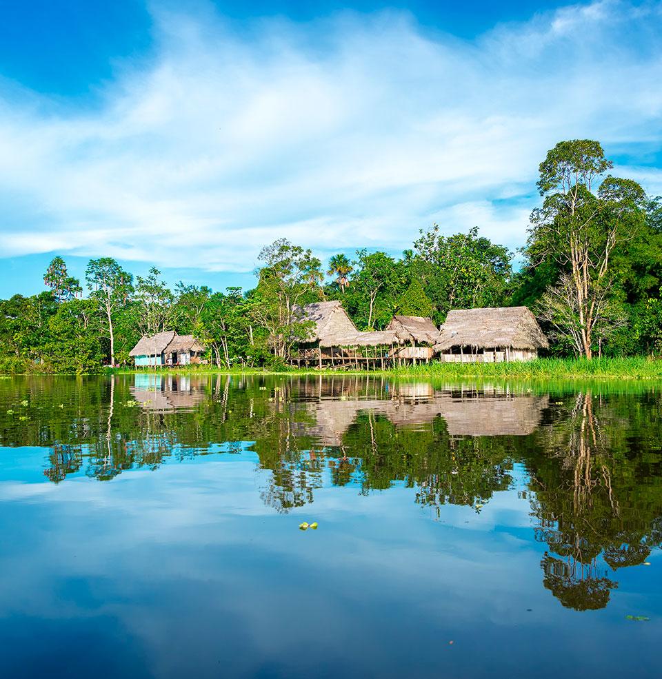 image of peru lake Sandoval in nature reserve Tambopata